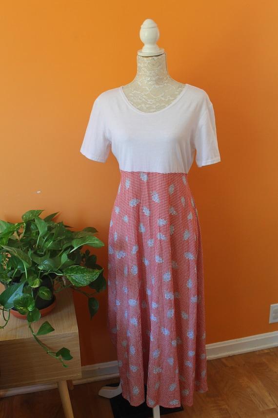 Vintage 1990s Rue21 Minimal Gingham Midi Dress (La