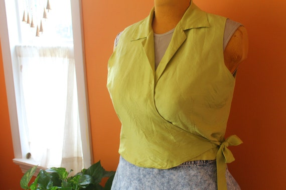 Vintage 1990s Chartreuse Silk Collared Wrap Top (L