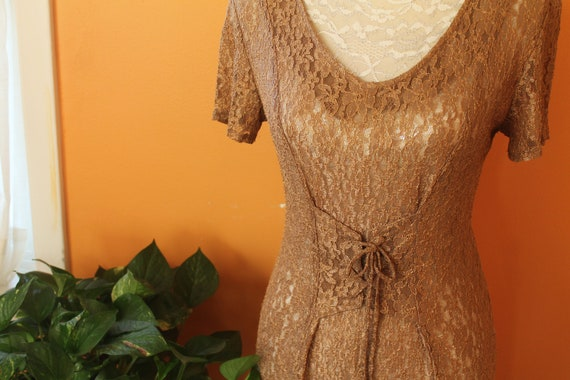 Vintage 1980s Sheer Coffee Lace Corset Waist Long… - image 2