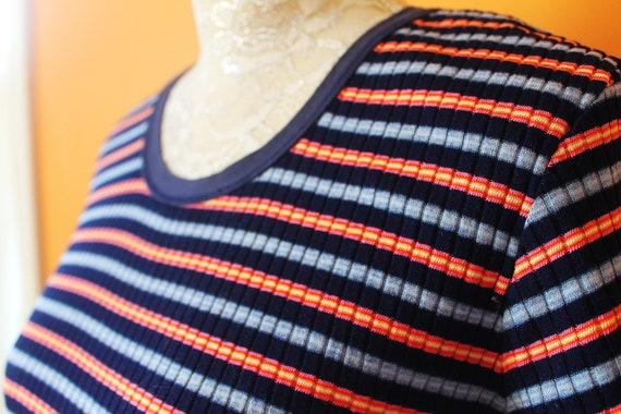 Vintage 1990s Ribbed Striped Mini Fitted Tshirt Dr