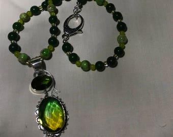 Green Natural Semi Precious Jade and Tourmaline bead Necklace
