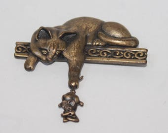 Cat and Mouse Brooch