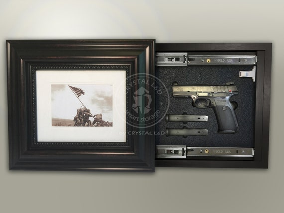 x 17 in Hidden Storage Photo Frame for Gun and Valuables 20 in // Magnetic Lock