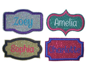 Personalised Embroidered 7x3cm Name Badge Tag Patch iron on sew on Embroidery