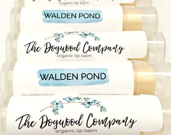 Walden Pond Organic Lip Balm - 100% Organic - Only 4 Ingredients - Basic Unscented Lip Balm - Limited Ingredients - Sensitive Skin