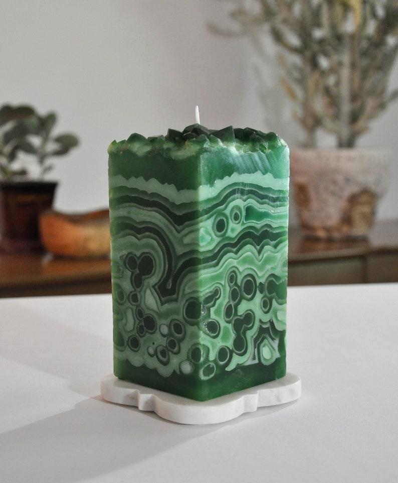 Malachite Matrix Crystal Geode Pillar Candle