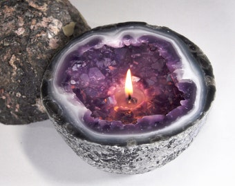 Crystal Geode Amethyst Candle