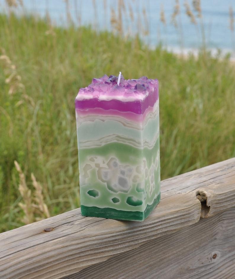 Succulent Garden Crystal Geode Pillar Candle FREE SHIPPING!