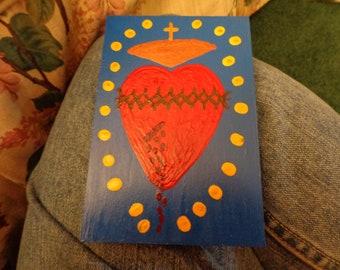 Sacred Heart of Jesus Wooden Plaque, Full heart