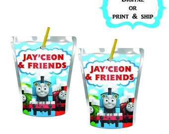 Thomas & Friends Juice label-Caprisun-Party favors-First Birthday-Printable-Pouch Labels-Digital-Printed-Party supplies-Custom-