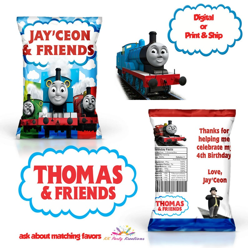 picture relating to Thomas and Friends Printable Faces named Personalized Thomas and buddies Chip bag-Teach-Thomas and pals-Social gathering-Products-Favors-loot luggage-Printable-Electronic-Initial Birthday