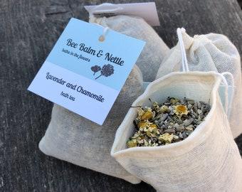 Lavender and Chamomile bath tea, organic calming & relaxing floral bath