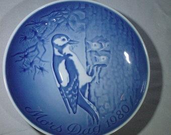 Bing and Grondahl  B &G Mors Dag Mothers Day collector plate 1980 birds in tree Copenhagen Porcelain Denmark