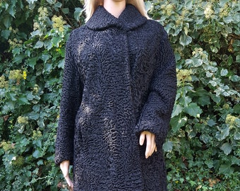 Vintage Persian Lamb Astragan Black Fur Coat Size M/ UK 10; 12 ; 14