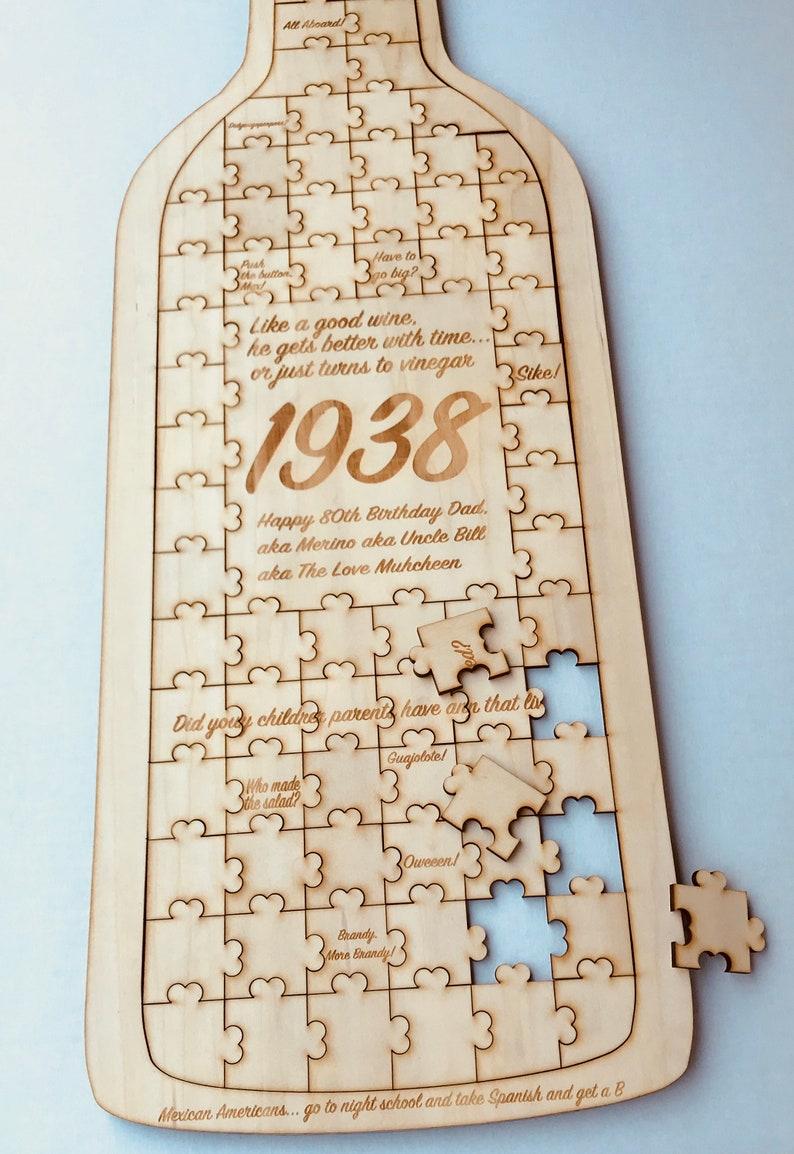 Custom wine Wedding guest book wood,Jigsaw guestbook,Guest book Alternative,Personalized puzzle,Wedding Birthday Wedding Puzzle guest book