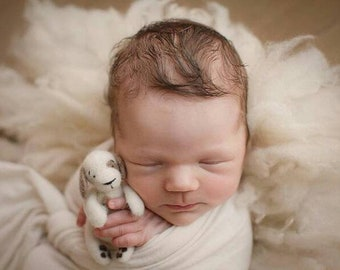 Puppy wool toy dog for newborn photography