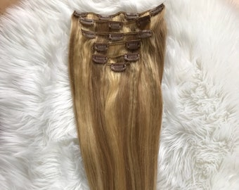 20in HUMAN HAIR clip in extensions #613/#27
