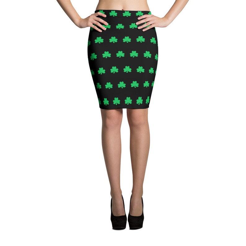 eecca97896 St Patricks Day Skirt - Shamrock Black Pencil Skirt - Irish Skirts - FREE  SHIPPING - St Patricks Day Outfit for Women