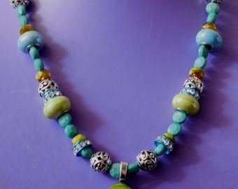Lime green and aqua beaded necklace with pendant