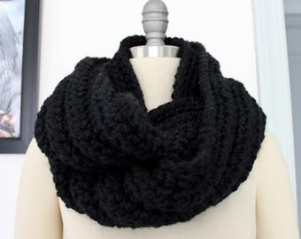 Black Crocheted Infinity Scarf