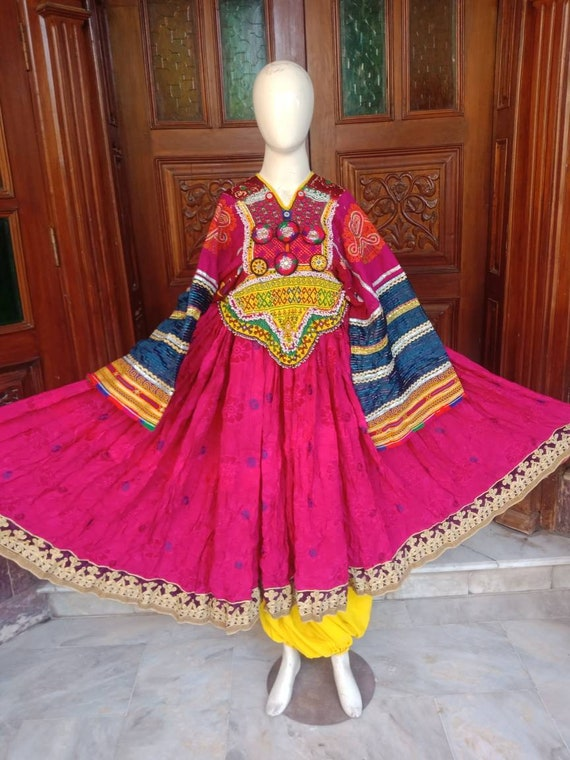 Afghan traditional ethnic pashtun vintage dress