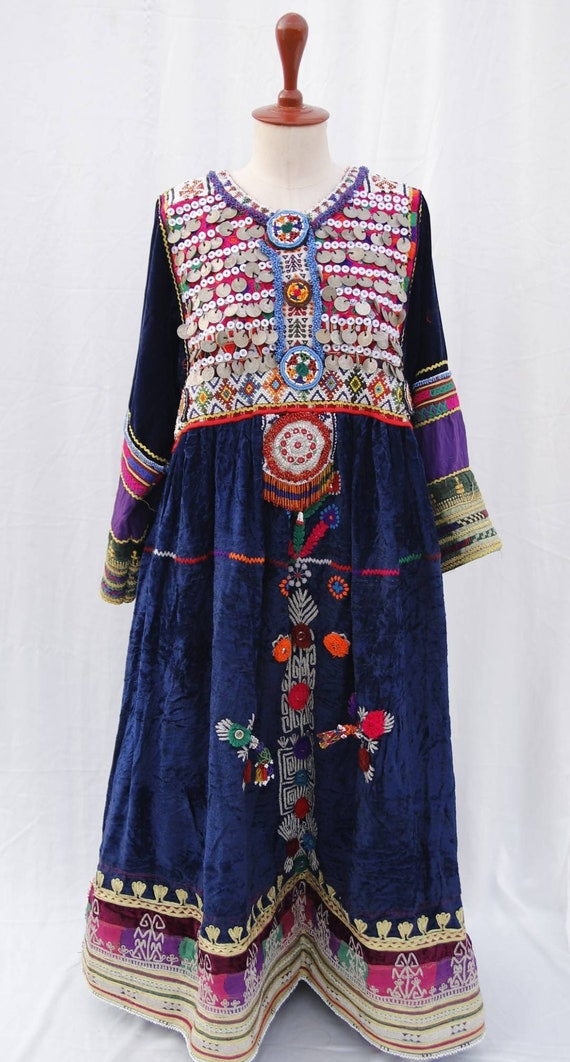 Vintage kuchi pashtun ethnic coin dress