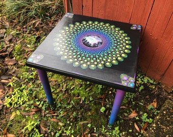 Decorative Galaxy Mandala Table / Refurbished Table / Hand Painted Table /  Entry Way Table