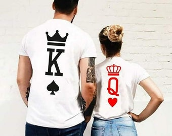 120d08dee VALENTINES DAY - King and Queen - Matching Couple T-Shirts - Tees