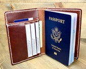 Custom Leather Passport Wallet w Free Personalization Wallet for him Black, Brown, or Buck Brown Leather Wickett Craig Leather