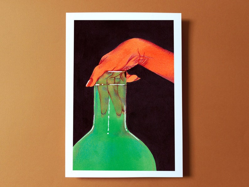 Kinky Glass green / Illustration print of a hand with image 0