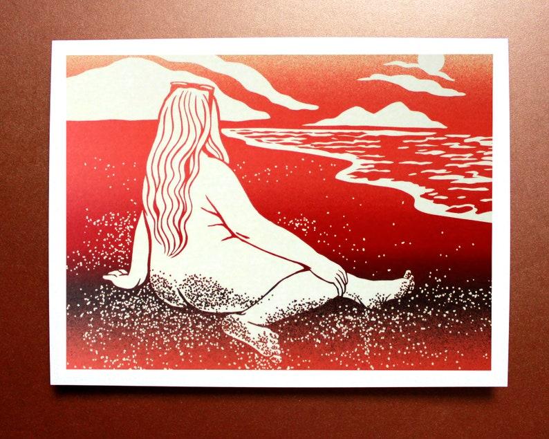 Naïade des plages / Digital Illustration Print A5 or A3 15 x image 0