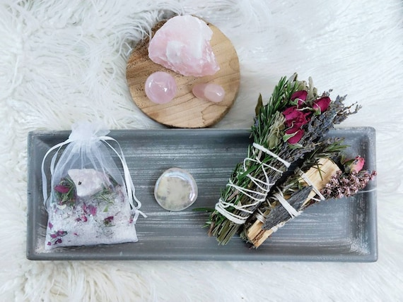Self love gift bundle - Raw rose quartz, tumble, travel stone, sphere, apothecary soak, smudge and Palo Santo, perfect gift, Crystals