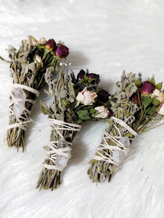 1 pc Crystal+Rose smudge stick- small size