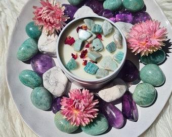 Stargazing Candle ~ Amazonite, Crystal Candle, Soy Candle, Wedding Candle, Ritual Candle, Scented Candle