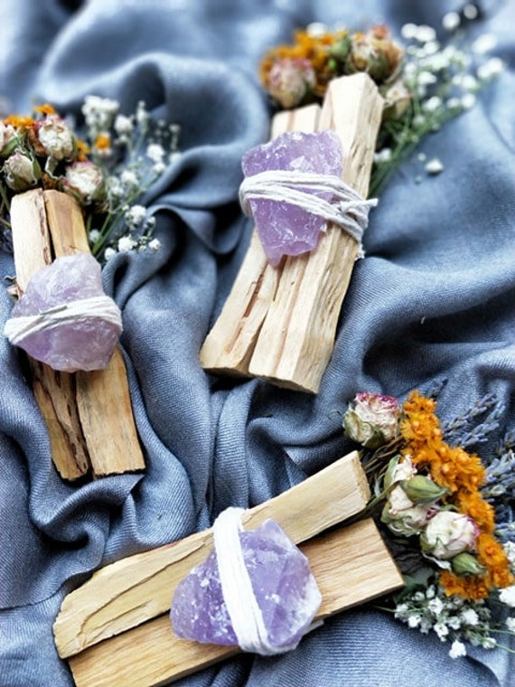 1pc Stress Relief & gratitude bundle with raw amethyst and palo santo- Smudging, healing, aromatherapy, cleansing, ritual, calming