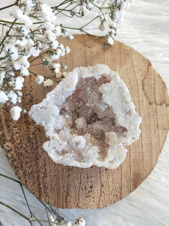 Tiny Heavenly Angel/Opal Aura geode- 1 pc tiny size gorgeous geode, Aura Geodes, Loving vibration, Very grounding, Crystals
