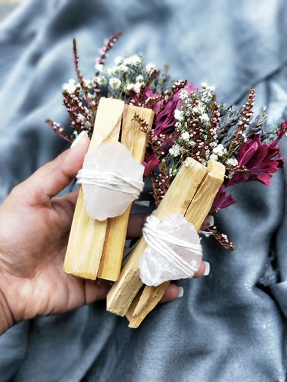 1pc Heart chakra healing & gratitude bundle with raw rose quartz and palo santo- Smudging, healing, aromatherapy, cleansing, grief, love