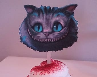 Cheshire Cat and Mad Hatter's Hat Cupcake Toppers-Alice in Wonderland -12CT