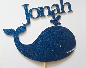 Spurting Whale Cake /& Cupcake Toppers Many Colours /& Sizes Plane or Engraved