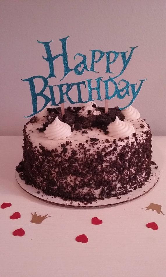 Surprising Happy Birthday Cake Topper Alice In Wonderland Etsy Funny Birthday Cards Online Alyptdamsfinfo