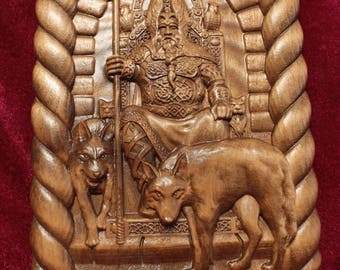 ODIN AND WOLVES Wooden carved picture 3D painting art Any size.