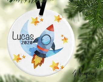 Boy on rocket,Christmas Ornament,first christmas,spun cotton ornament,vintage christmas,Paper Mach\u00e9 figurine,christmas decoration,space gift