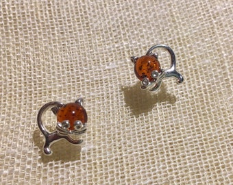 b654fc15cc9f Cat with Whiskers -Genuine Baltic Amber Earrings - Cognac Color -  Handcrafted - Gift Jewelry