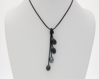 Black Freshwater Rice Pearl Necklace