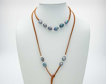 Freshwater Pearl Necklace, Handmade Bohemian Leather Necklace, 12 Freshwater Pearls and Beads Adjustable Leather Lariat Necklace