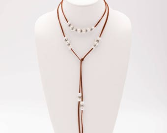Pearls On Leather Lariat, Versatile Long Pearl Double Wrap Necklace, Freshwater Pearls Jewelry, Genuine Leather, Gifts for Her