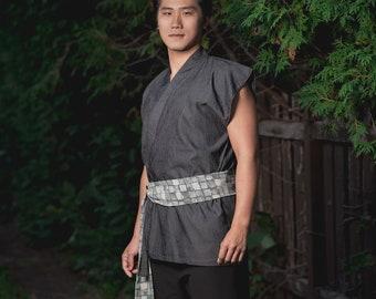 3065f524f7 Samurai Sleeveless Vest Jacket Top Japanese Fashion Style with Obi for a  Cool Kimono Look