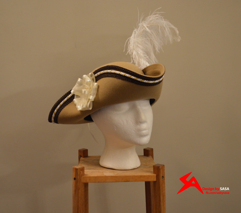 488dc3c1314 Beige Brown Pirate Tricorn Hat Ouji Fashion Accessory