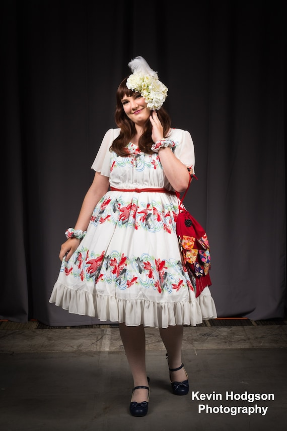 Plus Size Lolita Dress White Koi Fish wa Japanese kawaii Fashion