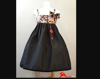 Korean Fusion Hanbok Dress JSK - Black Wa Lolita Dress Shirring Gothic Japanese Fashion Japan Fabric Jumperskirt with matching hair bow